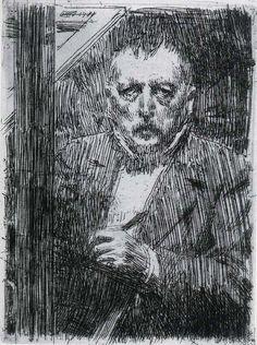 Anders Zorn 1911 Self-portrait pencil drawing