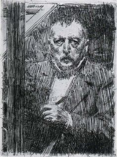 Anders Zorn 1911 Self-portrait pencil drawing