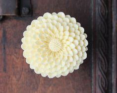 Flower Drawer knobs - Cabinet Knobs Mum in Butter Yellow LARGE, more COLORS (RFK12)