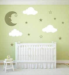 Vinyl Wall Stickers with Clouds, Moon, and Stars for Baby Room