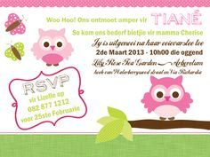 Owl baby shower invitation - Afrikaans