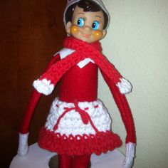 Elf on a Shelf crochet scarf and skirt by Misty Starnes.