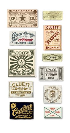 Arrow/ Cluett Labels