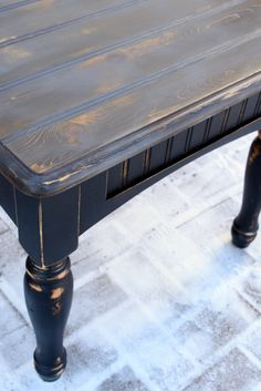 End tables in General Finishes Lamp Black with Gray Wash top. Refurbished by Sweet Threepeats....www.facebook.com/sweetthreepeats