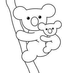 Cartoon drawing of a koala with her baby