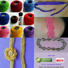 Crochet Headbands for sale 4 styles, 12 colours & 4 sizes available. Which will you choose?  https://thingamajigs--whatsits.fwscart.com/