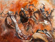 """Geebung Polo Club"" oil on gesso board by John Beeman from Landsborough Galleries - Australian iconic artist"