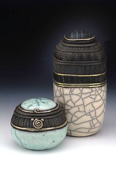 Raku lidded vessels with crackle and gold lustres ~ By Candone Wharton.