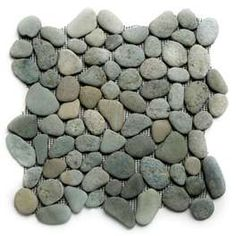 can't wait to have river rock shower floor, wonder what hubs will think River Rock Tile, River Rock Shower, River Pebbles, River Rocks, Shower Pan, Shower Floor, Big Shower, Pebble Tile Shower, Bathroom Pictures