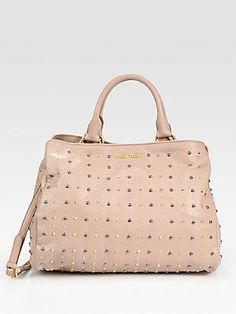 Miu Miu Studded Leather Top Handle Bag
