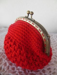 Crochet Coin Purse Red Womens Gift Pouches  di JustForYouhm