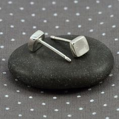 Sterling silver stud earrings - smooth thick square $21