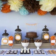 orange, and brown for fall candy table
