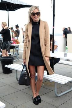 dressy casual outfit - camel coat over a turtleneck dress worn with oxfords