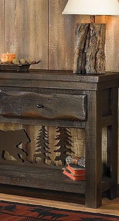 The one-of-a-kind Barnwood Bear Scene Table truly defines rustic elegance as a server, sofa table or flat screen tv console. Log Cabin Furniture, Rustic Bedroom Furniture, Rustic Bedding, Rustic Bedrooms, Furniture Nyc, Cheap Furniture, Furniture Design, Rustic Cabin Decor, Lodge Decor