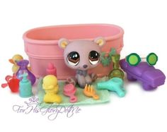 ✵Littlest Pet Shop✵15 PC PURPLE POLAR BEAR BATH LOT✵ACCESSORIES✵CUCUMBER GLASSES