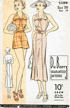 30s 1930s repro vintage women's sewing pattern halter playsuit shorts beach romper sun dress bust 38 b38 reproduction