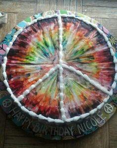 Tye dye birthday cake