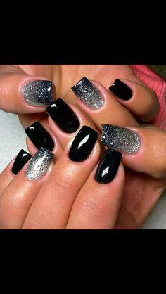 Black/ombré silver