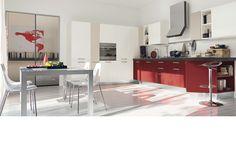 Red contemporary kitchen by Record è Cucine #design #kitchen