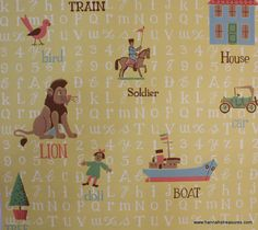 1950's Vintage Wallpaper Alphabet and Nursery by HannahsTreasures, $18.00