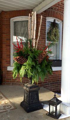 Beautiful traditional style Christmas urn arrangement.