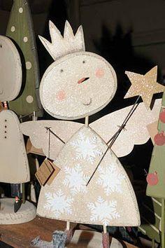 Prachtig engeltje van papier! Met glitter en staf maak je het engeltje af...