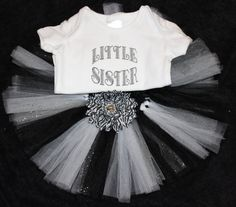 Little Sister two piece tutu outfit size 12-18m black, white, and silver on Etsy, $25.00