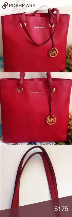 """Michael Kors Saffiano Red Leather Tote/ Handbag Authentic MK Saffiano Red Leather Tote Handbag 14"""" width 13"""" height featuring gold toned MK charm (no scratches), magnetic closure, pocket on back exterior and plenty of interior pockets for organization, almost flawless: only minor wear to top of handles from bending in the leather, more pics available, price negotiable, bundle discounts!!! Michael Kors Bags Totes"""