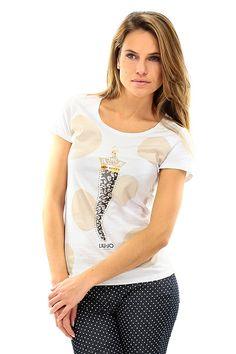 LIU.JO - T-Shirts - Abbigliamento - T-Shirt in cotone con stampa sul davanti ed applicazione dis trass sulla lunghezza. - BIANCO - € 49.00