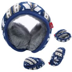 Unisex Warm knitted Outdoor Ear Muffs Foldable Compact Soft Ear Warmers Blue New #SmartH