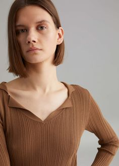 Create your online store today with Shopify Structured Fashion, Summer Knitting, How To Purl Knit, Polo Neck, Sweater Design, Ribbed Fabric, Lilo And Stitch, Sweater Weather, Layered Tops