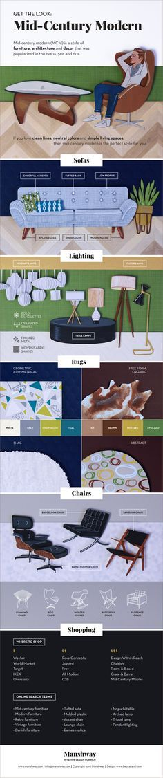 Mid-century modern is the most popular interior design aesthetic. Here's how to get the mid-century modern look in your place, including what to look for in: sofas, lighting, rugs and chairs. This graphic also shows you where to shop and what to search for if you're shopping for furniture online.