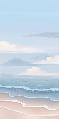 Blue Coast Watercolor Wallpaper