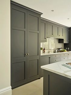 Battersea Kitchen - Stylish Shaker Kitchens by - Dark grey blue kitchen pantry cupboard. Modern bespoke shaker style breakfast cabinet with oak inte - Grey Shaker Kitchen, Shaker Kitchen Cabinets, Shaker Style Kitchens, Grey Kitchens, Grey Kitchen Cupboards, Shaker Style Cabinets, Kitchen Modern, Coloured Kitchen Cabinets, Kitchens With Dark Cabinets