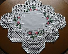 Hardanger Cross Stitch Embroidered Tablecloth Rose Buds New 100 Handmade | eBay