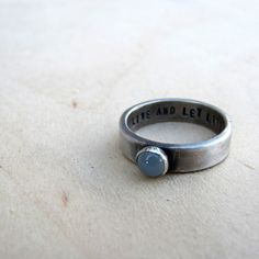Rustic personalized sterling birthstone ring by tinahdee on Etsy, $125.00