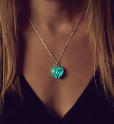 PRE ORDER Small Aqua Necklace  Glowing Heart  Mommy by EpicGlows