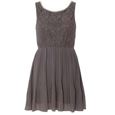 "Mela Loves London Gray Pearl Neck Pleated Dress Mela Loves London brand from Dorothy Perkins. Semi-formal gray dress with lace overlay on bodice and pleated skirt. Front neckline features pearl detail. Fully lined. Elastic waist. No zipper - pull-on style. New and unworn, has only been stored in plastic garment bag. Labelled size UK 8 (US 4) but fits closer to US 2. Measures approximately 28"" to 34"" bust, 22"" to 28"" waist, 32"" length. Dorothy Perkins Dresses"