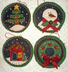 """INSTANT DOWNLOAD E Pattern """"WINTER ORNAMENTS"""" Penny rug designs"""