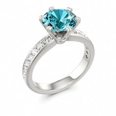 Solitaire Ring with Side Stones BELVEDERE at Colors of Eden #topaz #engagement #ring