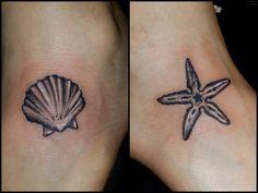 Seashell and Starfish Tattoo by Chris Vangeli of Amaryllis Tattoo, Palmer Tsp PA. www.amaryllistattoo.com