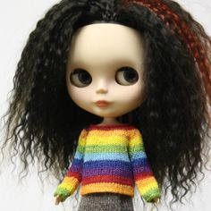 New to AnneArchy on Etsy: Blythe doll Rainbow stripes Sweater knitting PATTERN - striped doll sweater for Neo - instant download - permission to sell finished items (7.00 USD)