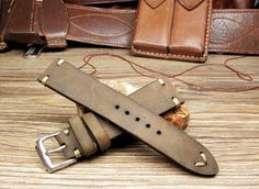 20mm Leather Strap for Sport or Diver watch include the buckle
