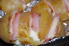 Pommes de terre au four à la mozzarella et jambon