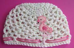 Pink flamingo baby girl crochet hat