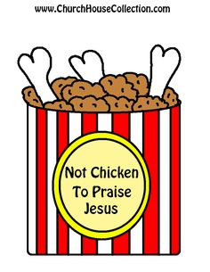Not Chicken To Praise Jesus Cutout Printable Template Craft For Sunday School Kids-Preschool Kindergarten Fried Chicken Bulletin Board Idea or Coloring Page