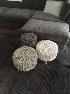 Items similar to Pouffes/ Cushioned Footstool/ Ottoman/ Small Coffee Table on Etsy Family Room Furniture, Home Furniture, Bedroom Themes, Bedroom Styles, Small Footstool, Floor Pouf, Crochet Home Decor, Luxury Interior Design, Room Inspiration