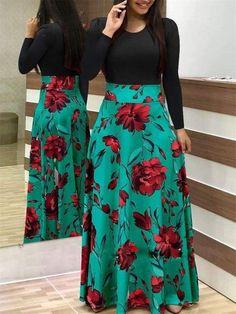 Black Floral Print Long Sleeve Casual Dresses