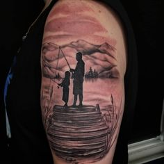 A father/daughter tattoo done yesterday thanks Sam! Father Daughter Tattoos, Tattoos For Daughters, Nashville Tattoo, Portrait Tattoos, Fish Tattoos, Black And Grey, Thankful, Tattoo Ideas, Profile